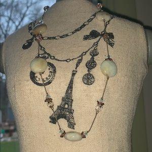 Vintage copper jade crystal element USA necklace